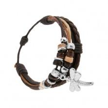 Nastavitelný náramek, kožené pásky a šňůrky, dekorativní kroužky, vážka
