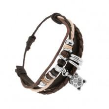 Pletený náramek, kožené pásky, barevné šňůrky, kroužky, želva