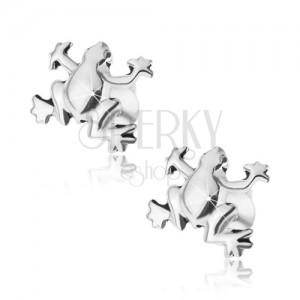 Stříbrné náušnice 925, lesklá patinovaná žabka, puzetové zapínání