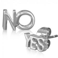 Ocelové náušnice s vysokým leskem, nápisy YES a NO, stříbrná barva
