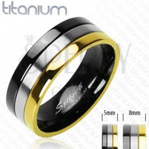 Titanové snubní prstýnky s onyxovým, stříbrným a zlatým pruhem