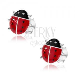 Stříbrné náušnice 925, vypouklá červená beruška, černé puntíky, puzetky