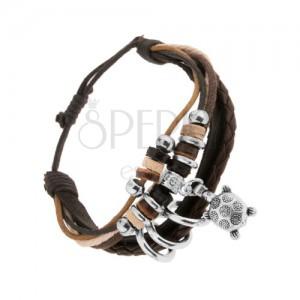 Multináramek - černý kožený pás, šňůrky, kolečka, želva s květy