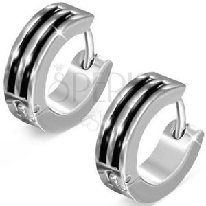 effa97b65 Kloubové náušnice, ocel 316L, kruhy stříbrné barvy, černé proužky ...