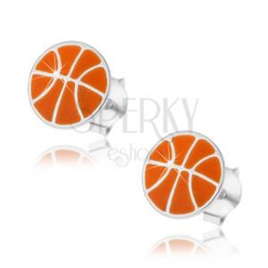 Stříbrné náušnice 925, basketbalový míč s oranžovou glazurou, puzetky