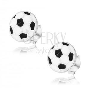 Stříbrné náušnice 925, plochý fotbalový míč, černá a bílá glazura