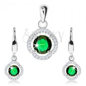 Stříbrný 925 set, přívěsek a náušnice, zelený zirkon, čirý zvlněný lem