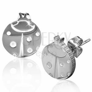 Puzetové náušnice z oceli 316L, stříbrný odstín, beruška s bílými puntíky