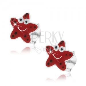 Stříbrné náušnice 925, veselá hvězdice červené barvy s černými tečkami