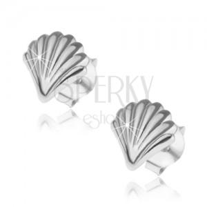 Náušnice ze stříbra 925, lesklá mušle s gravírovaným povrchem, puzetky