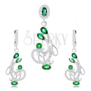 Set náušnic a přívěsku, stříbro 925, ornament - spirály, čiré a zelené zirkony