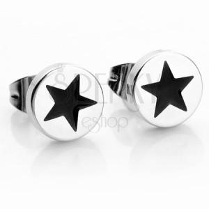Kruhové ocelové náušnice ve stříbrné barvě, černá hvězdička