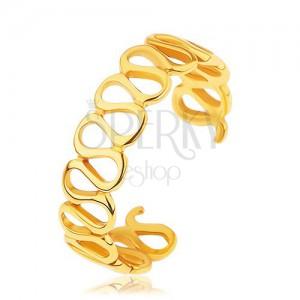 Roztahovací stříbrný prsten 925, zlatá barva, lesklé propojené smyčky