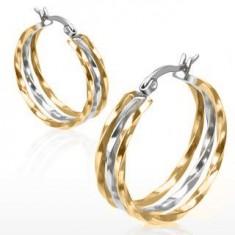 Kruhové náušnice z oceli, zlatý a stříbrný odstín, zvlněné linie U27.11