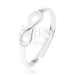 Lesklý stříbrný prsten 925, nastavitelný, symbol nekonečna - INFINITY