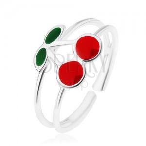 Prsten ze stříbra 925, rozdvojená ramena, třešně s lístky, glazura