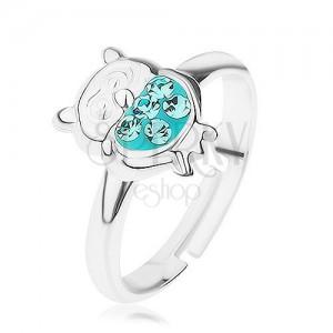 Prsten ze stříbra 925, lesklá sovička s glazurou a zirkony tyrkysové barvy