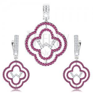 Set náušnic a přívěsku, stříbro 925, obrysy květů, čiré a růžové zirkony
