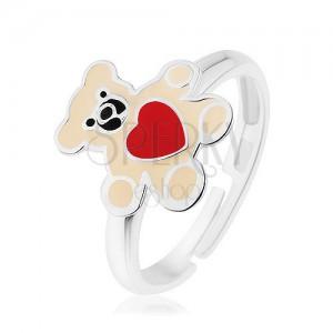 Stříbrný prsten 925, medvídek zdobený krémovou glazurou a červeným srdcem