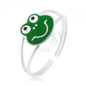 Prsten ze stříbra 925, rozdělená lesklá ramena, veselá žabka, zelená glazura