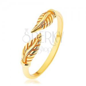 Stříbrný prsten 925 zlaté barvy, oddělené gravírované lístky, lesklá ramena
