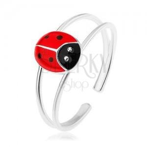 Prsten ze stříbra 925, rozdvojená ramena, červená puntíkovaná beruška