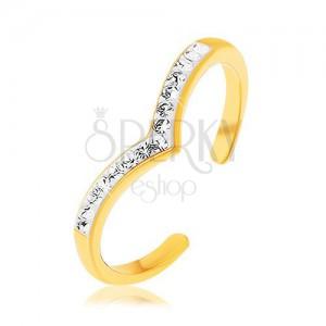 Stříbrný prsten 925 zlaté barvy, špičatá linie s bílou glazurou, čiré zirkony