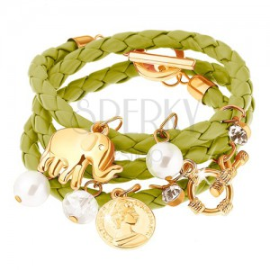 Multináramek - zelený pletenec, slon, mince, čiré a perleťově bílé korálky
