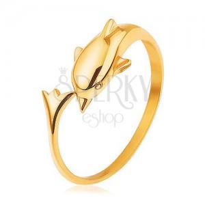 Lesklý prsten ze stříbra 925, zlatá barva, delfín s prodlouženým ocasem