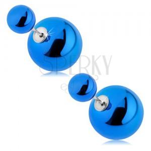 Oboustranné napichovací náušnice, lesklé kuličky tmavě modré barvy