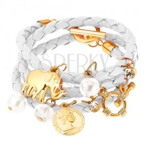 Náramek - bílý pletenec, slon, mince, čiré zirkony, perleťově bílé korálky