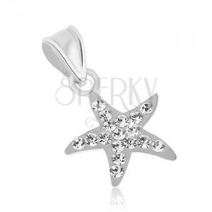 Stříbrný 925 přívěsek, blýskavá hvězdice bílé barvy, čiré zirkony