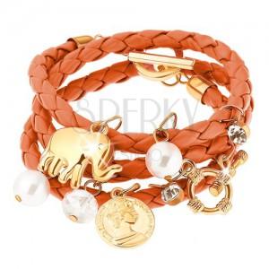 Pletený náramek, oranžová barva, přívěsky - korálky, mince, slon, zirkony