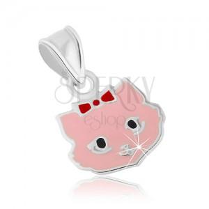 Stříbrný přívěsek 925, růžová kočička s mašlí a černýma očkama