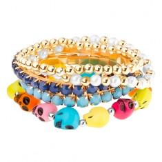 Multináramek - elastický, kulaté korálky, korálky v kotlíku, barevné lebky U28.17