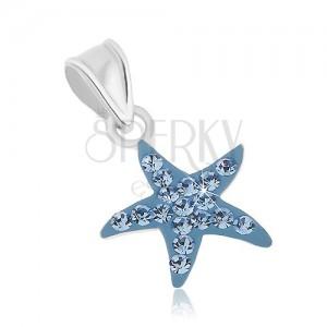 Přívěsek ze stříbra 925, třpytivá hvězdice s modrou glazurou a zirkony