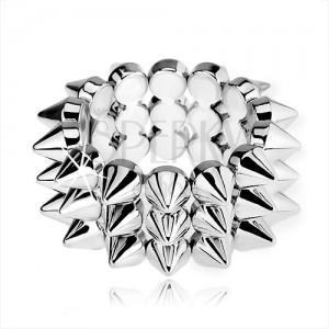 Trojřadý elastický náramek, lesklé ostny stříbrné barvy