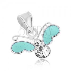 Stříbrný přívěsek 925, malý motýl s čirými zirkony a modrými křídly