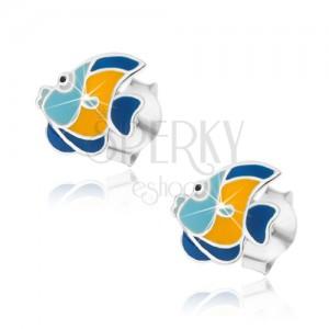 Stříbrné 925 náušnice, modrožlutá rybka, lesklá glazura