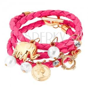 Pletený náramek, růžový odstín, přívěsky - korálky, zirkony, slon, mince