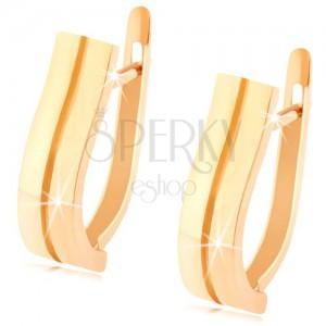Zlaté náušnice 585 - dva jemně zvlněné pásky, hladký lesklý povrch