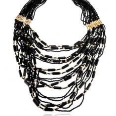 Korálkový náhrdelník, černá a zlatá barva, válečky a kuličky, karabinka