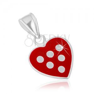 Přívěsek ze stříbra 925, srdíčko pokryté červenou glazurou, bílé puntíky