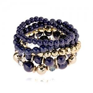 Multináramek, kulaté korálky v modré a zlaté barvě, hladký a broušený povrch