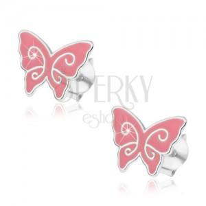 Stříbrné náušnice 925, plochý růžový motýlek, lesklé spirály, puzetky