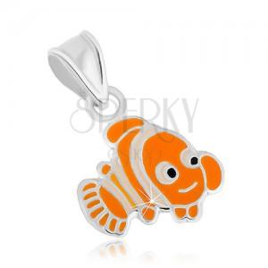 Stříbrný přívěsek 925, veselá oranžová rybka Nemo, lesklé kontury