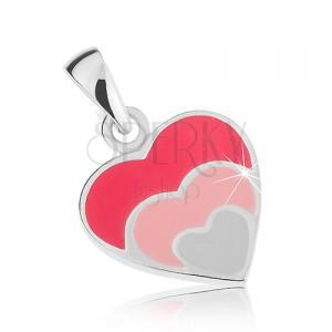 Přívěsek, stříbro 925, trojité srdce - tmavě růžová, světle růžová, bílá glazura