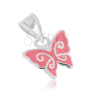 Stříbrný přívěsek 925, motýlek s růžovou glazurou a lesklými liniemi