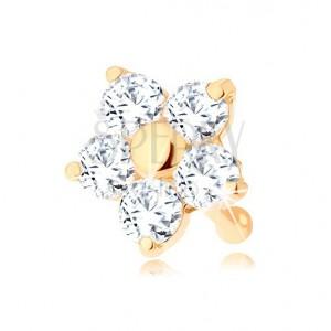 Zlatý piercing do nosu 585 - rovný, třpytivý kvítek z čirých zirkonů