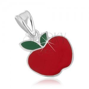Stříbrný přívěsek 925 - jablíčko červené barvy, zelené lístky, glazura